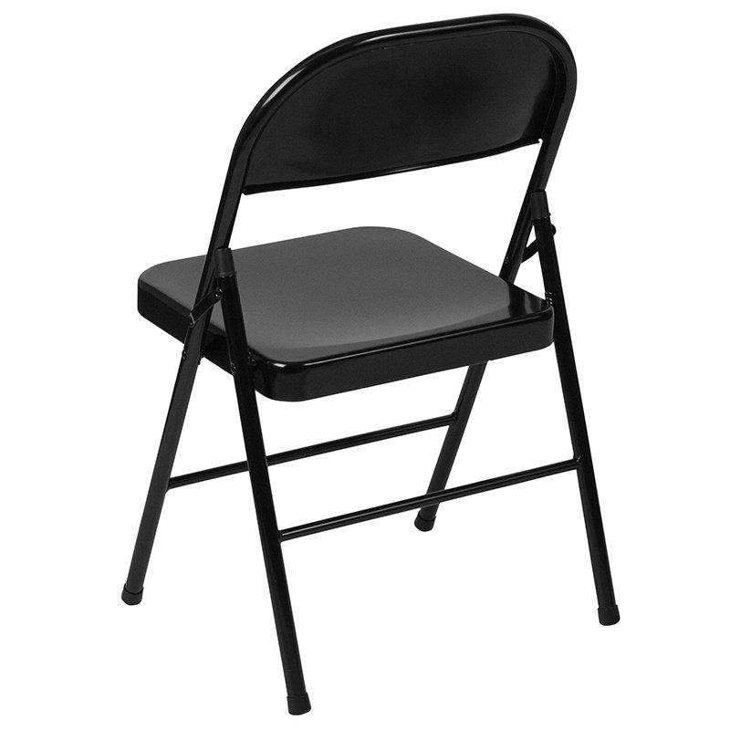 Flash Furniture HERCULES Series Double Braced Black Metal Folding Chair (BD-F002-BK-GG)