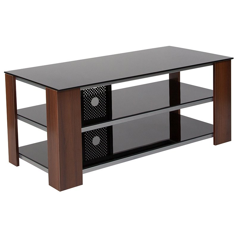 Flash Furniture Montgomery Black TV Stand With Glass Shelves   Steel  Accents And Mahogany Wood Grain Finish ...