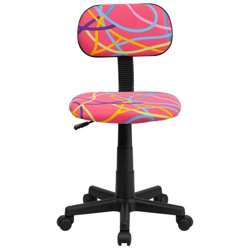 Flash Furniture Multi Colored Swirl Printed Pink Swivel