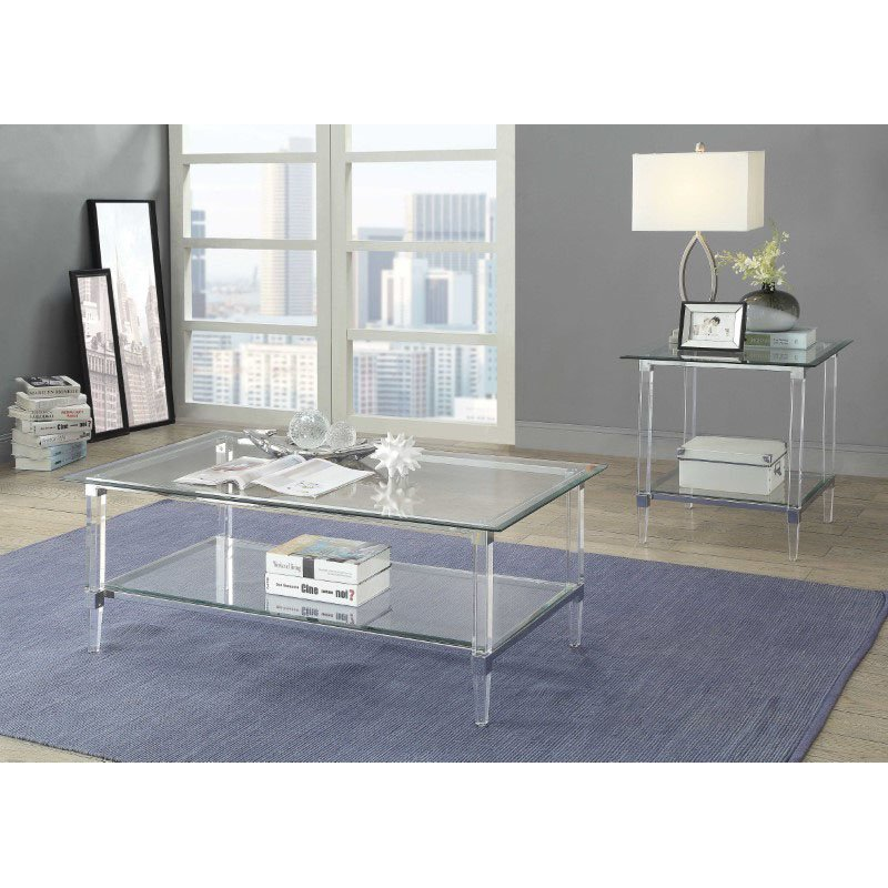 HomeRoots Furniture Coffee Table In Clear Acrylic, Chrome