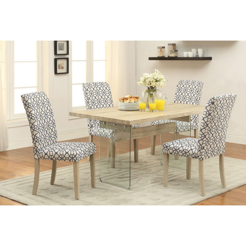 Light Oak Dining Room Table And Chairs: HomeRoots Furniture Dining Table, Light Oak & Clear Glass