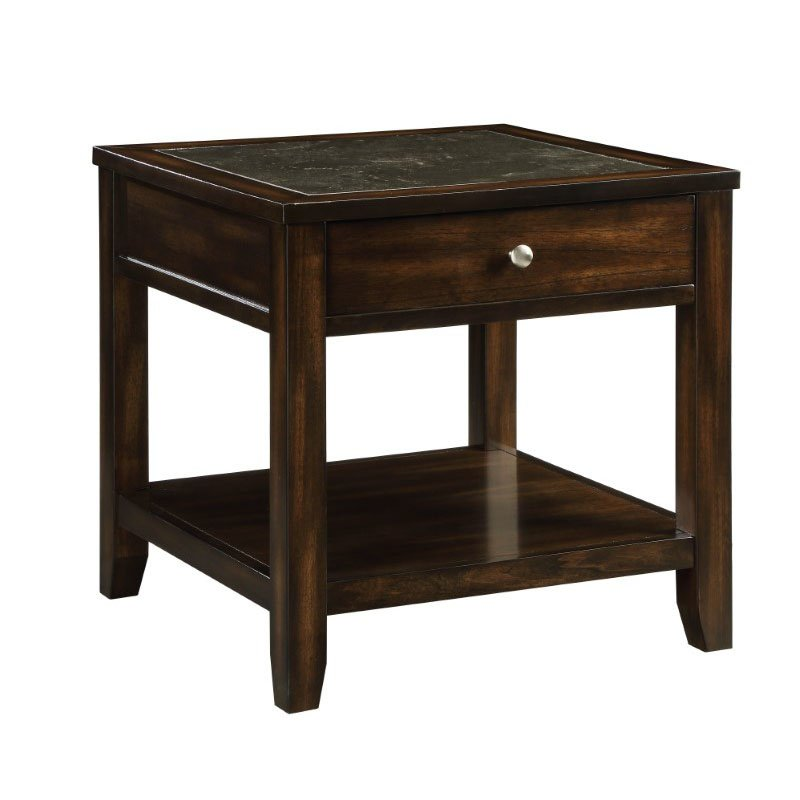 Homeroots Furniture End Table In Black Marble And Walnut Marble Poplar Ridge Wood Veneer Mdf 319153