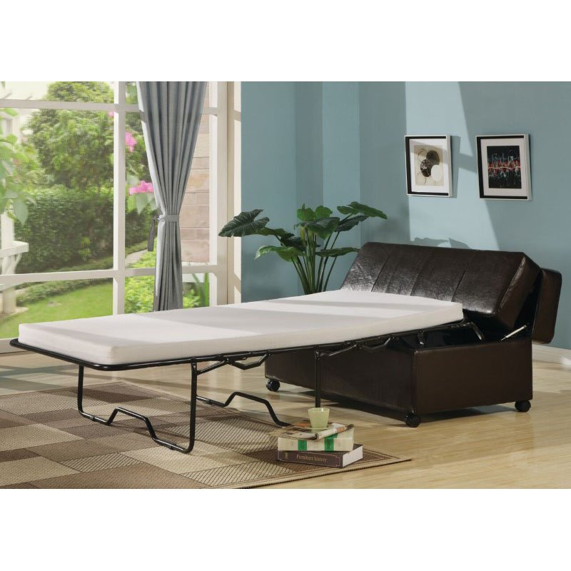 homeroots furniture fold out ottoman sleeper bed with mattress dark brown 304414. Black Bedroom Furniture Sets. Home Design Ideas