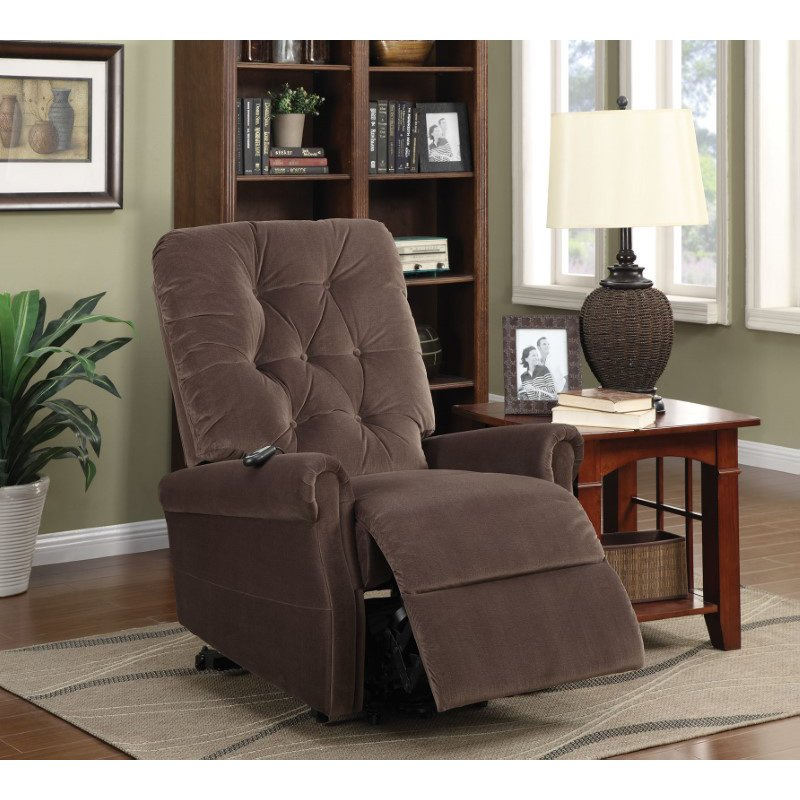 HomeRoots Furniture Recliner With Power Lift, Chocolate