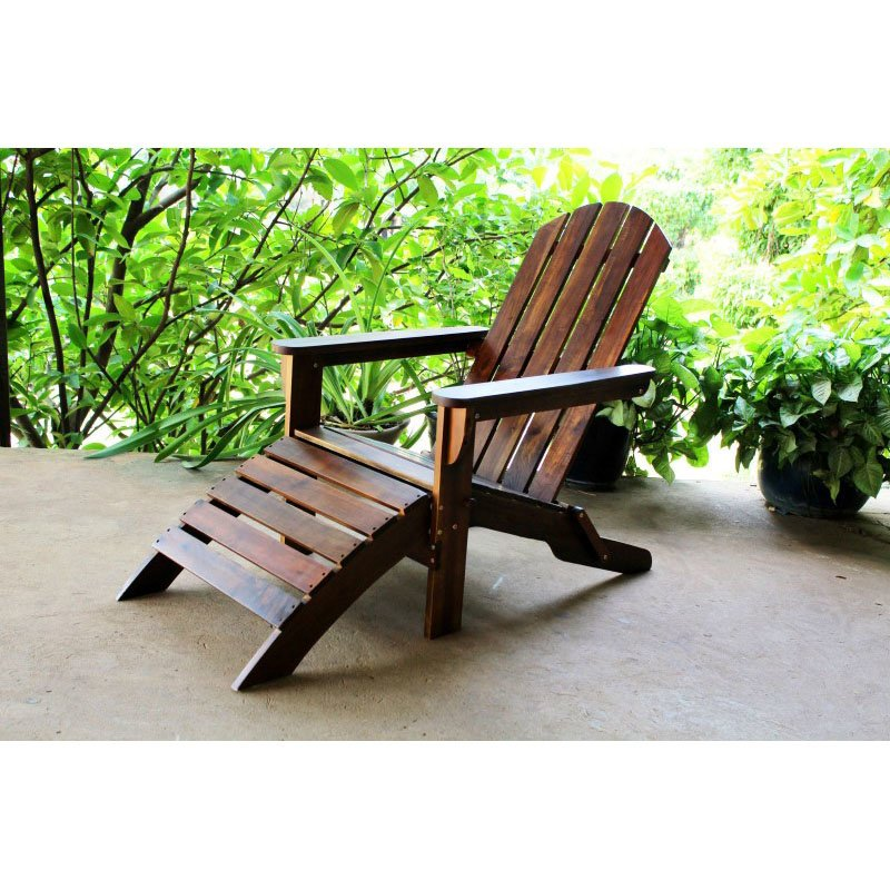 International Caravan Outdoor Adirondack Chair With Footrest In Brown