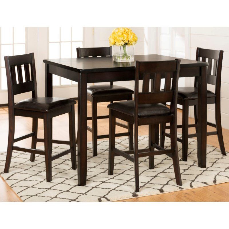 Jofran Chadwick Counter Height Table With Corner Bench And: Jofran Dark Rustic Prairie Counter Height Table And Four