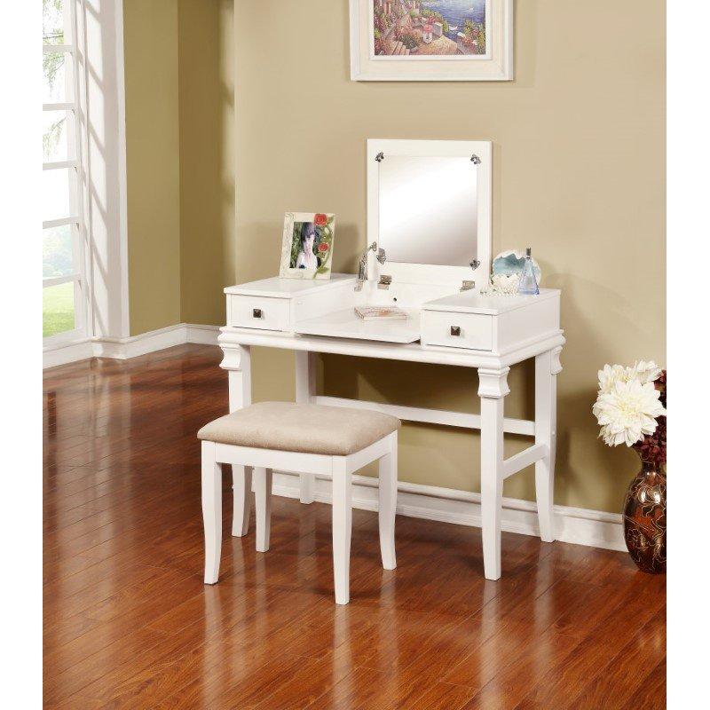 Linon Lattice Vanity Set Multiple Colors: Linon Angela White Vanity Set