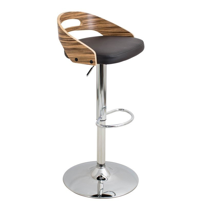 Lumisource Cassis Height Adjustable Barstool in Zebra and Brown