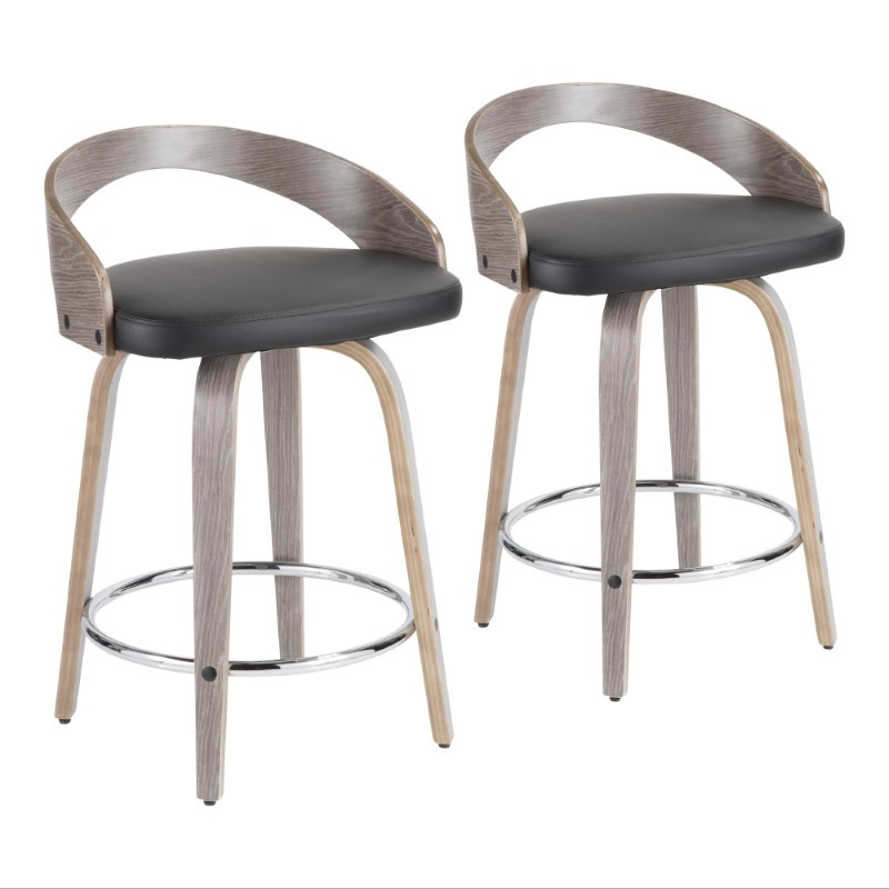 Lumisource Grotto Mid Century Modern Counter Stool With