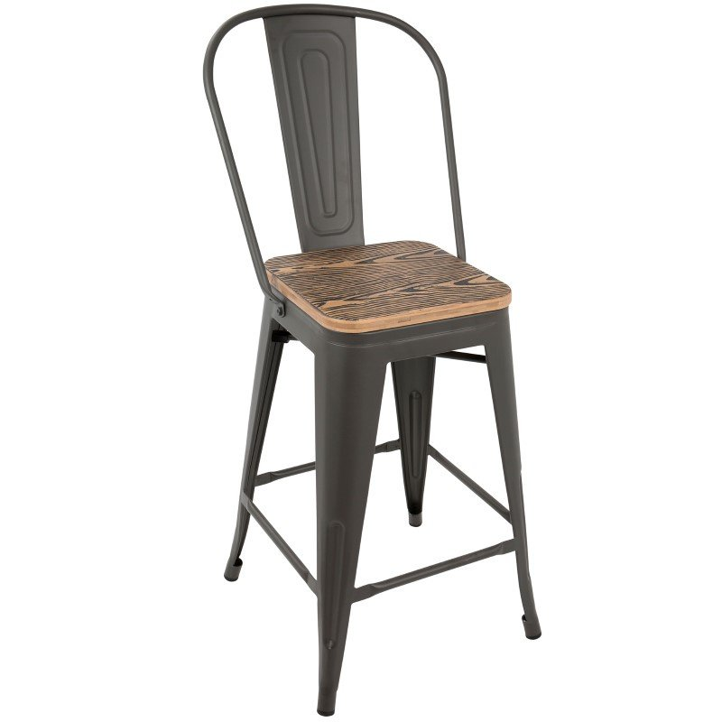 Lumisource Oregon Industrial High Back Counter Stool in Grey and Brown - Set of 2 (CS-ORHB GY+BN2)