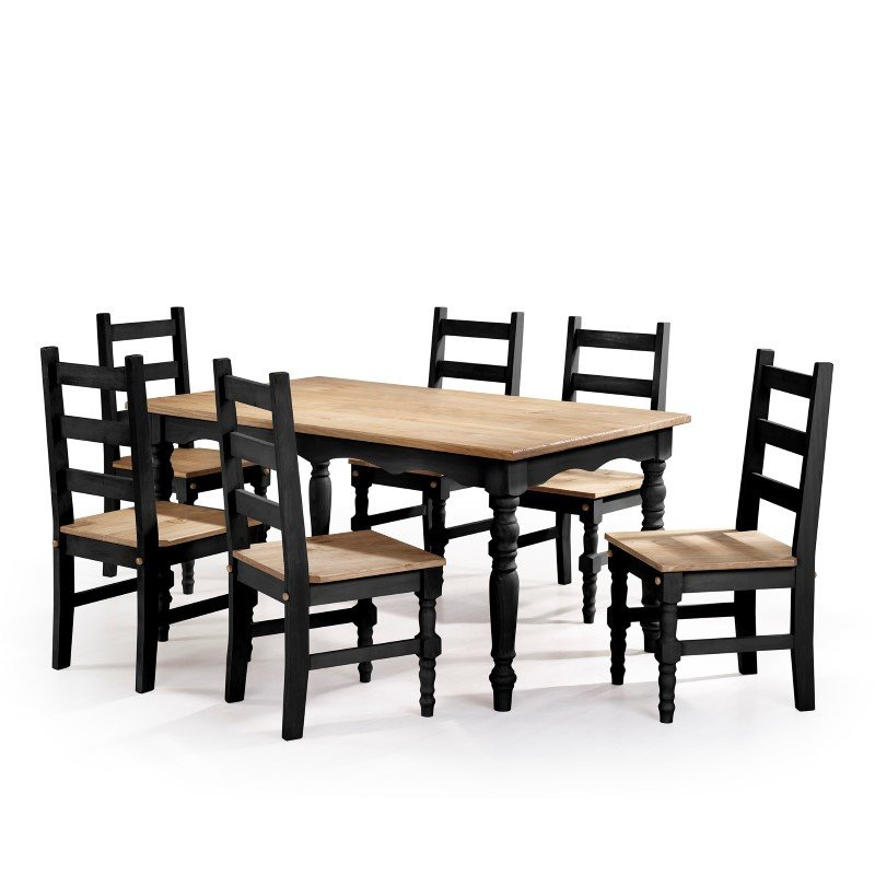 manhattan comfort jay 7 piece solid wood dining set with 6