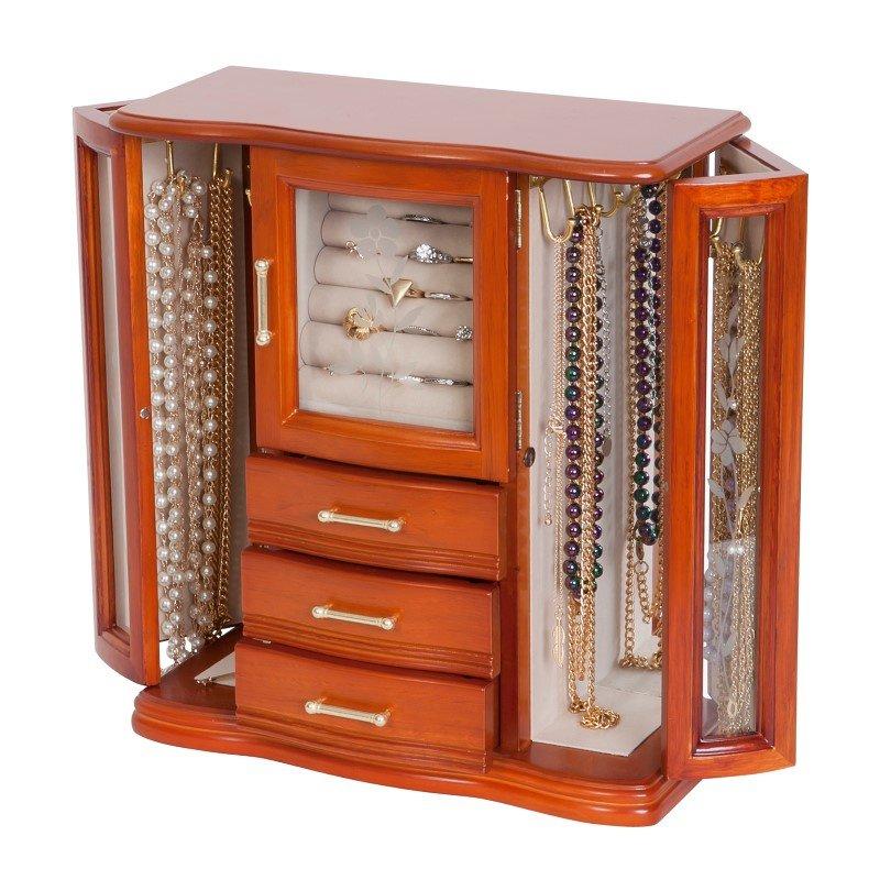 Mele & Co. Richmond Wooden Jewelry Box in Walnut Finish
