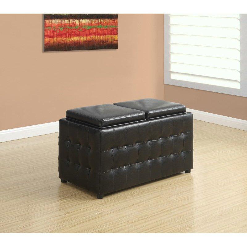 "Monarch Specialties 32""L Ottoman/Storage Trays in Dark Brown Leather-Look (I 8924)"