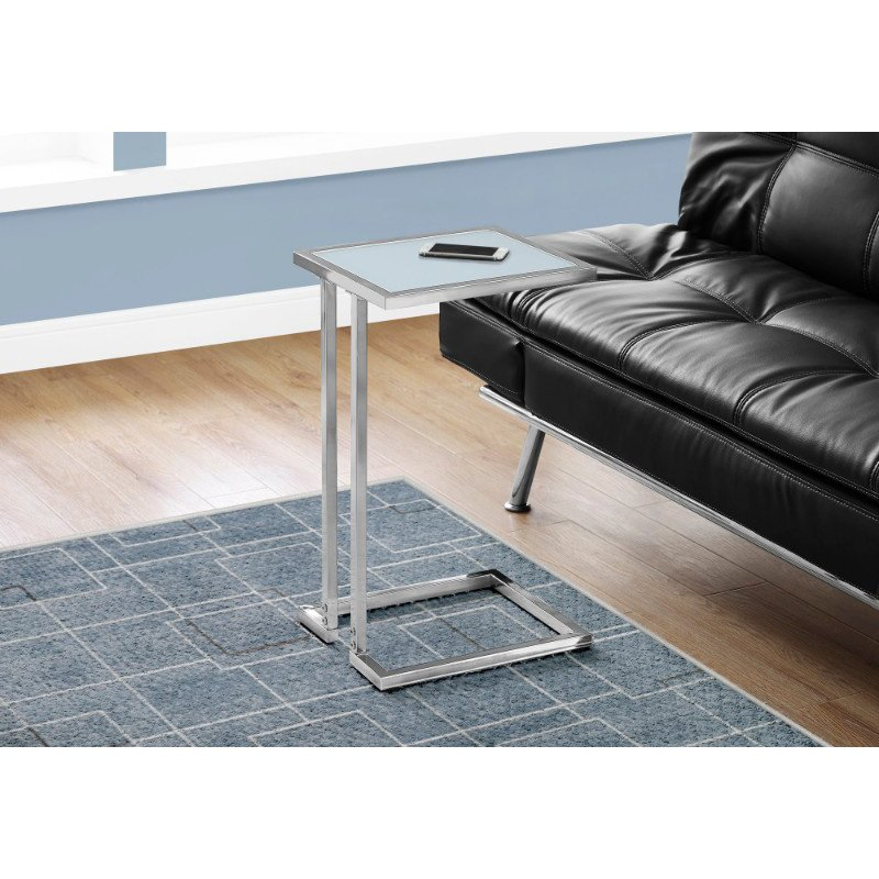 Monarch Specialties Accent Table in Chrome Metal with Frosted Tempered Glass (I 3219)