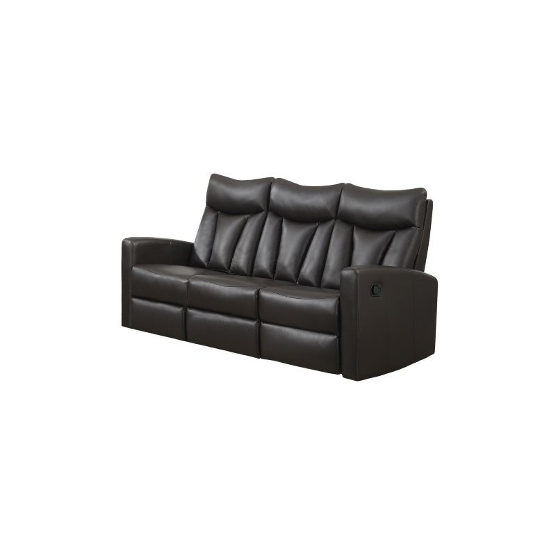 Monarch Specialties Bonded Leather Reclining Sofa in Brown (I 87BR-3)