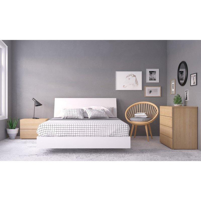 Fantastic Nexera Esker 4 Pieces Queen Size Bedroom Set In Natural Maple And White 400832 Download Free Architecture Designs Pendunizatbritishbridgeorg