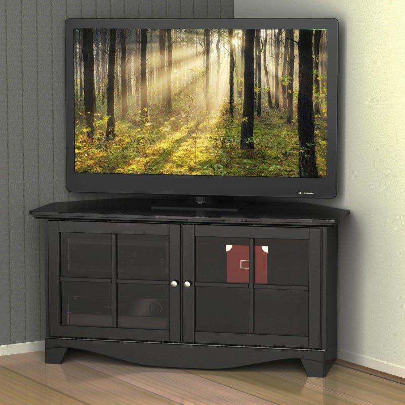 Nexera 2 Door Mobile Microwave Cart: Nexera Pinnacle 49'' Two Door Corner TV Stand In Black