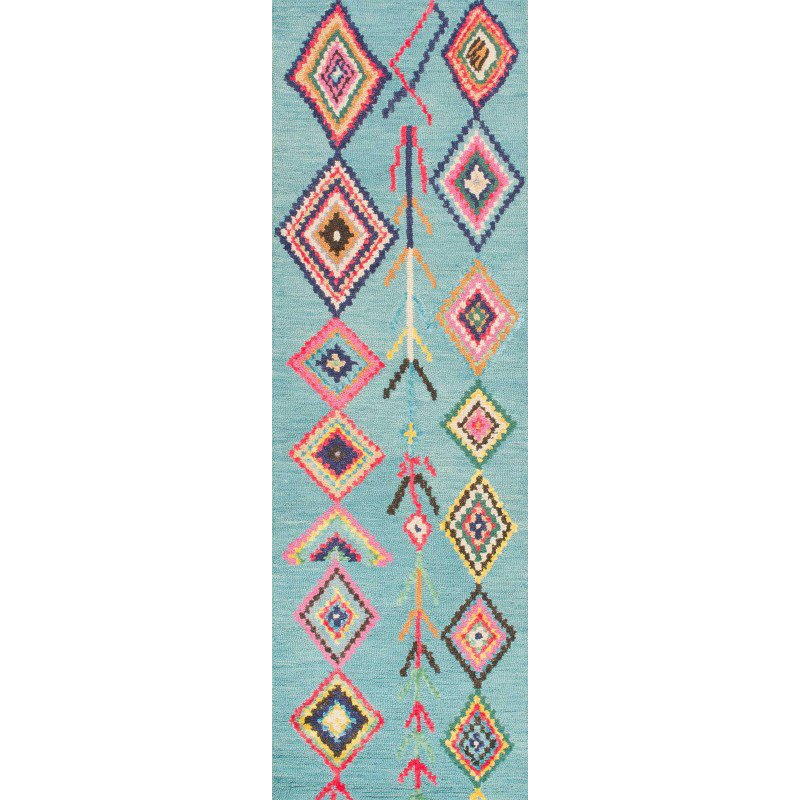 "Nuloom Crandall Turquoise 7 Ft 10 In X 9 Ft 6 In Area: NuLOOM Hand Tufted Belini Area Rug 2' 6"" X 8' Turquoise"