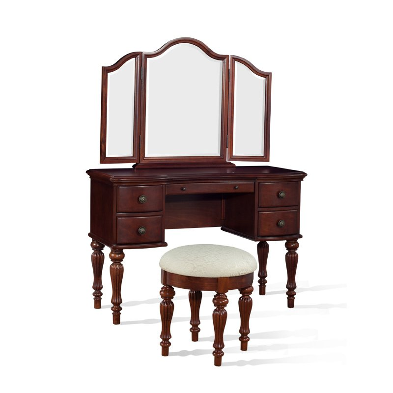 Powell Marquis Cherry Wood Makeup Vanity Table With Mirror