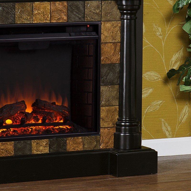 Southern Enterprises Carrington Faux Slate Convertible Electric Fireplace In Black