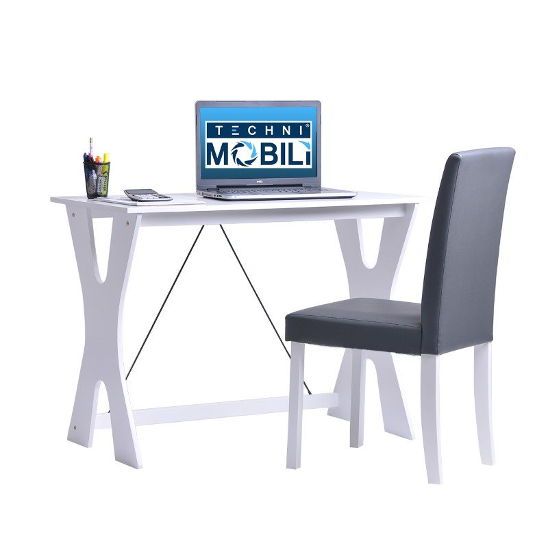 Techni Mobili Modern Matching Desk And Chair Set In White And Grey