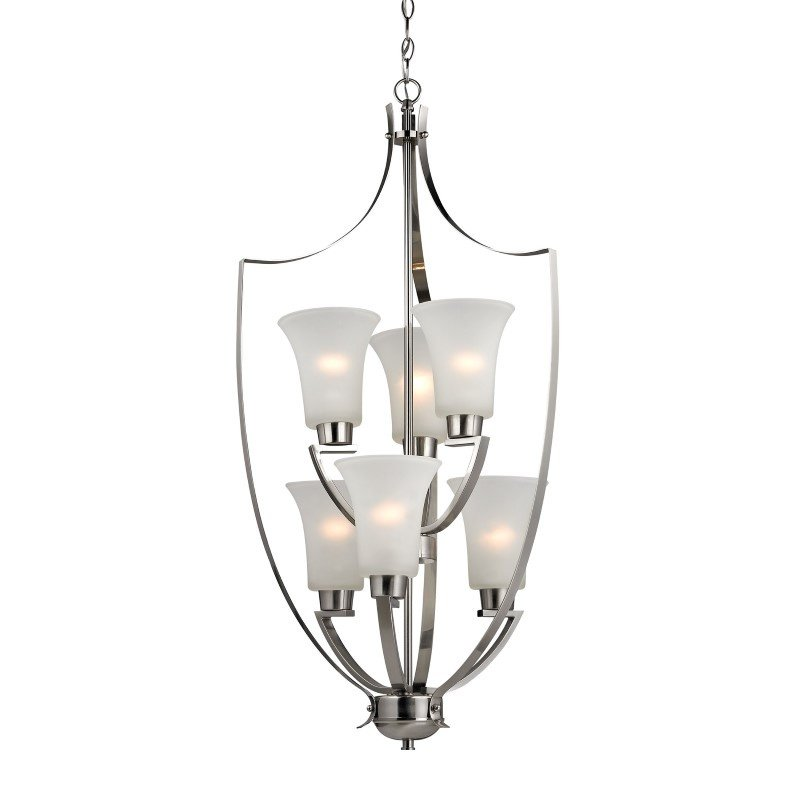 Foyer Chandelier Brushed Nickel : Thomas lighting foyer collection light chandelier in
