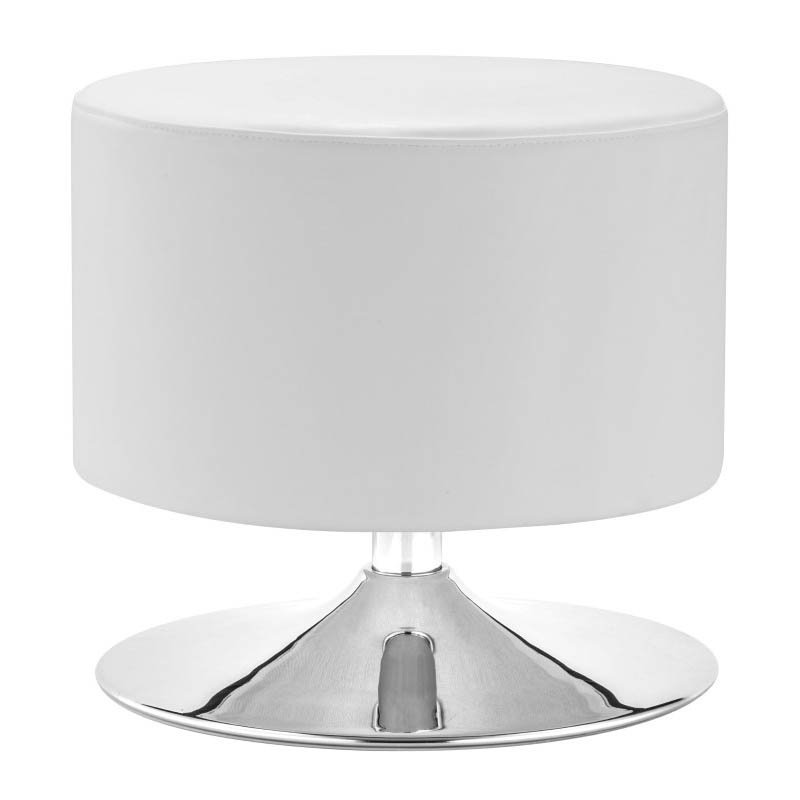 Zuo Plump Faux Leather Ottoman in White